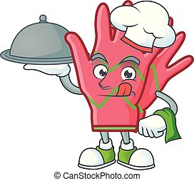 smiling christmas gloves as a Chef with food cartoon style design