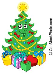 Smiling Christmas tree with gifts - isolated illustration.