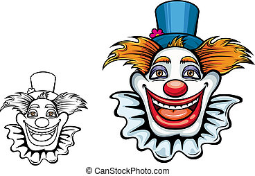 Smiling circus clown in hat - Cartoon smiling circus clown...