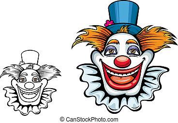 Cartoon smiling circus clown in hat for entertainment design