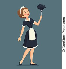 Smiling Cleaning Woman Illustration - Smiling cleaning woman...