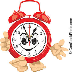smiling clock face - alarm clock - time is money, happy time...