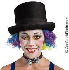 Smiling clown and colorful