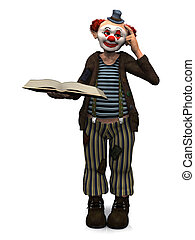 Smiling clown holding book. - A friendly smiling clown ...
