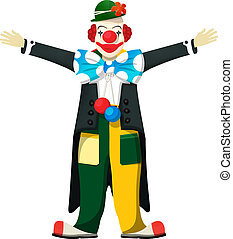 Open arms clown, isolated over white