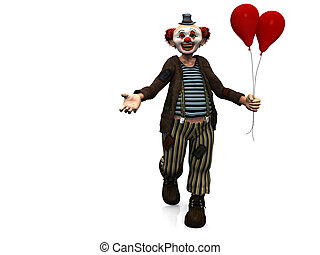 Smiling clown with red balloons. - A smiling clown holding ...