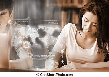Smiling college student analysing map on digital interface