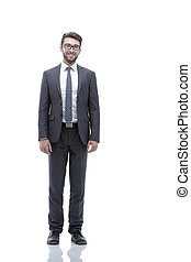 Smiling confident business man. Portrait in full growth -...