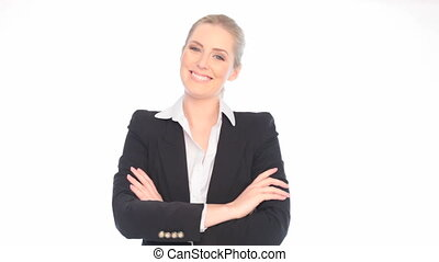 Smiling Confident Businesswoman with folded arms on white