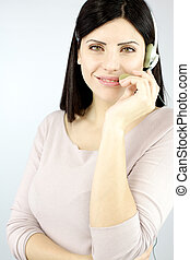 Smiling confident call center woman