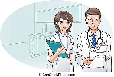 Smiling Confident Doctor and Nurse with a background of doctor's office. Cartoon Nurse. Cartoon doctor.