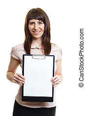 Smiling confident girl with a folder on a white background
