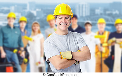 Construction worker man. - Smiling Construction worker man. ...