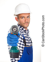 Smiling construction worker with drill isolated on white background