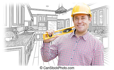 Contractor in Hard Hat with Level Over Custom Kitchen Drawing