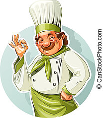 Smiling cook show okay. Eps10 vector illustration. Isolated on white background