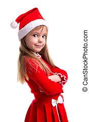 Smiling coquettish christmas girl wearing a santa hat isolated over a white background, standing in the half turn. Portrait picture