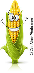 smiling corncob - corncob vector illustration color on white...