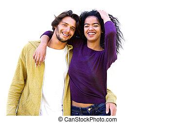 Smiling couple against white background