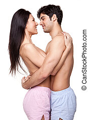 Smiling Couple In Loving Embrace