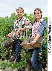 Smiling couple of harvesters standing in vineyard