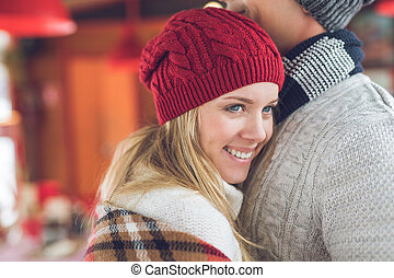 Smiling couple on a date