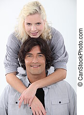 Smiling couple on white background