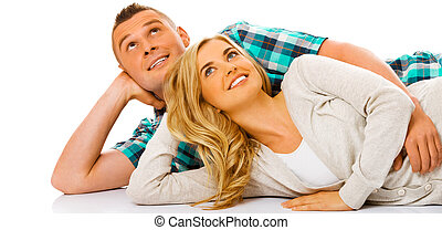 Smiling couple with copy space