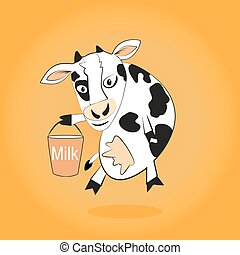Smiling cow gives milk bucket in the hoof