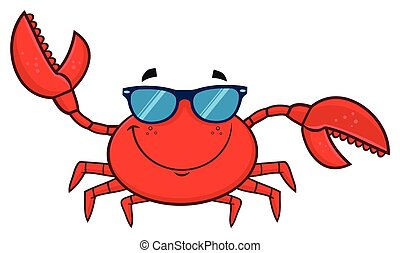 Smiling Crab Cartoon Mascot Character With Sunglasses Waving
