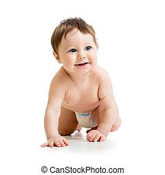 smiling crawling baby isolated on white background