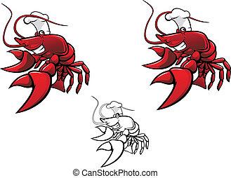 Smiling crayfish chef