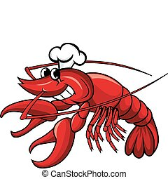 Smiling red crayfish or shrimp isolated on white