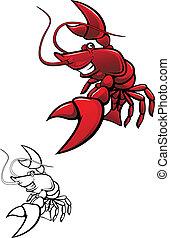Smiling crayfish - Smiling red crayfish or shrimp isolated...