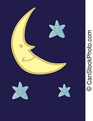 Smiling Crescent Moon and Stars CArtoon on Midnight Blue