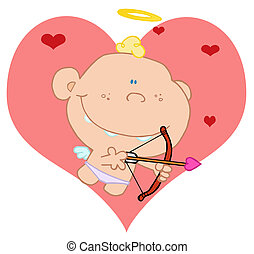 Smiling cupid with bow and arrow