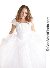 Smiling curly bride in white dress