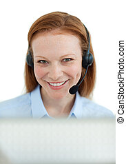 Smiling customer service agent with headset on
