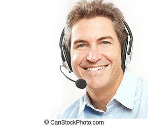 customer service operator. - Smiling customer service...