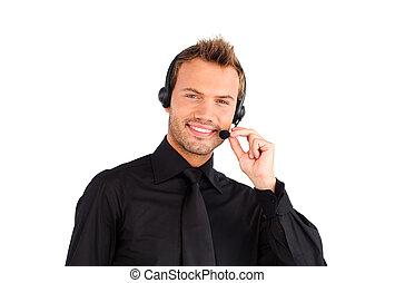 Smiling customer service representative man - Customer...