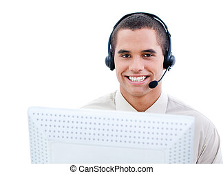 Smiling customer service representative working in a call...