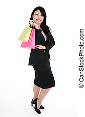 Smiling customer with shopping bags