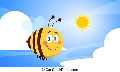 Smiling Cute Bee Cartoon Character Flying. 4K Animation Video Motion Graphics With Background