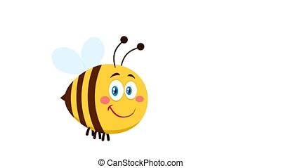 Smiling Cute Bee Cartoon Character Flying. 4K Animation Video Motion Graphics Without Background