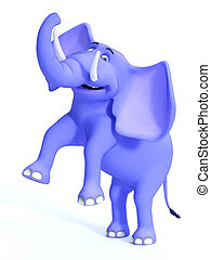 Smiling cute blue toon elephant.
