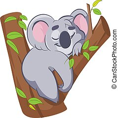 Smiling cute cartoon koala sleeping on the tree.