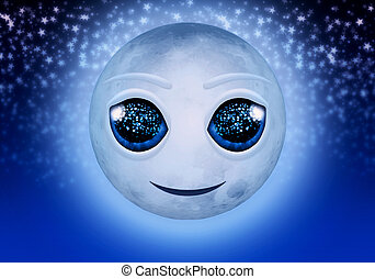 Smiling cute full moon and stars