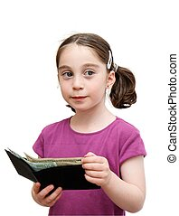 Smiling cute girl with pigtails holds a wallet isolated