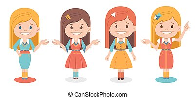 Smiling cute girls in different clothes on white background. Set of business women in different poses. Set of characters