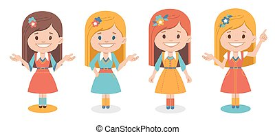 Smiling cute girls in different dress isolated on white background. Set of women in different poses. Set of characters